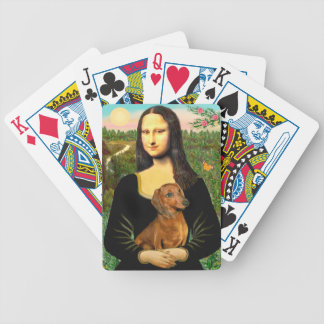 Mona Lisa and her Red Dachshund Bicycle Playing Cards