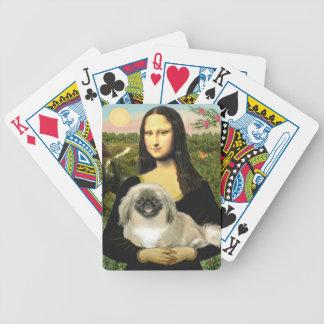 Mona Lisa and Pekingese with black mask Bicycle Playing Cards