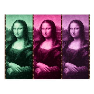 Mona Lisa Animal Print Green Pink Purple Postcard