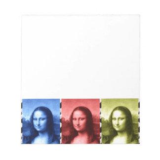 Mona Lisa Animal Print Primary Colors Notepad