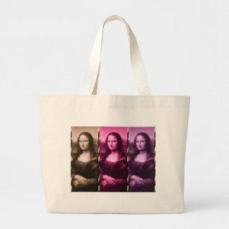 Mona Lisa Animal Print Purple Pink Chocolate Large Tote Bag