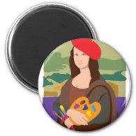 Mona Lisa Artist 2 Inch Round Magnet