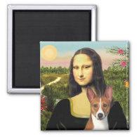 Mona Lisa - Basenji 1 2 Inch Square Magnet