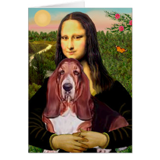 Mona Lisa - Basset Hound #1 Greeting Card