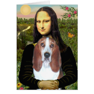 Mona Lisa - Basset Hound #4 Greeting Card