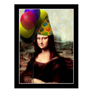 Mona Lisa Birthday Party Hat Postcard