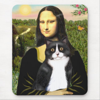 Mona Lisa - black and white cat Mouse Pad