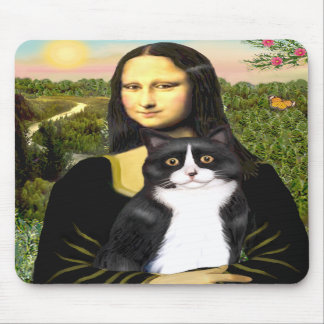 Mona Lisa - black and white cat Mouse Pads