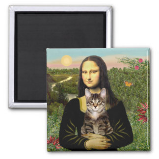 Mona Lisa - Brown Tabby Tiger cat 2 Inch Square Magnet
