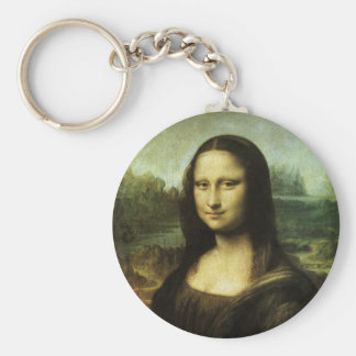 Mona Lisa by Leonardo da Vinci, Renaissance Art Basic Round Button Keychain