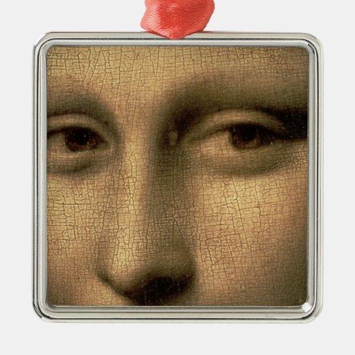 Mona Lisa, c.1503-6 Adorno Cuadrado Plateado