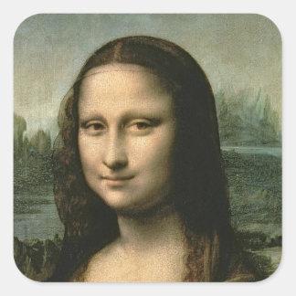Mona Lisa, c.1503-6 Calcomanias Cuadradas