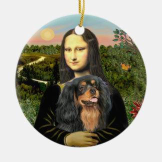 Mona Lisa - caballero (negro/moreno) Adorno Redondo De Cerámica