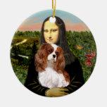 Mona Lisa - caballeros de Blenheim Adorno Redondo De Cerámica