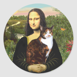 Mona Lisa - Calico cat Classic Round Sticker
