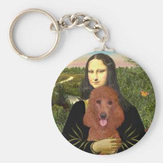 Mona Lisa - caniche estándar rojo oscuro #1 Llavero Redondo Tipo Pin