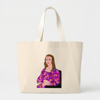 Mona Lisa Cartoon Image Large Tote Bag