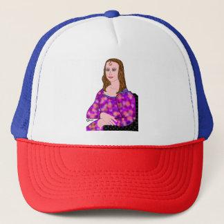 Mona Lisa Cartoon Image Trucker Hat