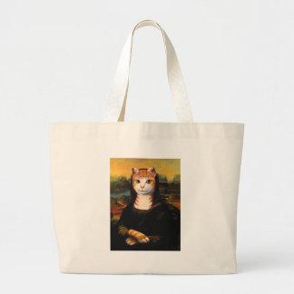 Mona Lisa Cat Large Tote Bag
