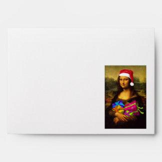 Mona Lisa Comes As Santa Claus Envelope