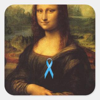 Mona Lisa con Blue Ribbon Pegatina Cuadrada