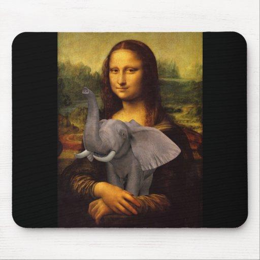 Mona Lisa con el elefante Alfombrilla De Raton