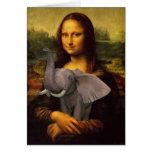 Mona Lisa con el elefante Tarjeta De Felicitación