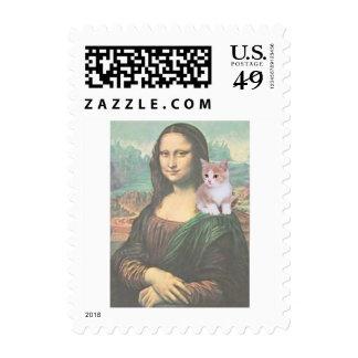 Mona Lisa con el gatito Sello