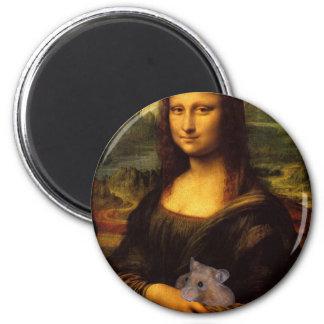 Mona Lisa con el hámster Imán Redondo 5 Cm