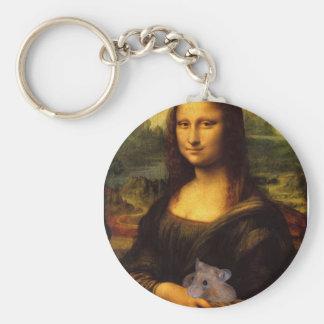 Mona Lisa con el hámster Llavero Redondo Tipo Pin