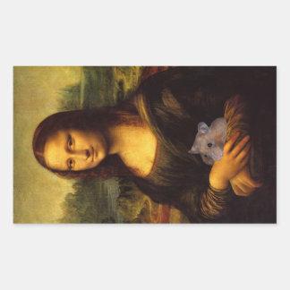 Mona Lisa con el hámster Pegatina Rectangular