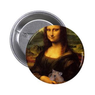 Mona Lisa con el hámster Pin Redondo De 2 Pulgadas