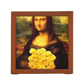 Mona Lisa con el ramo de rosas amarillos Portalápices
