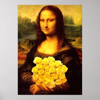 Mona Lisa con el ramo de rosas amarillos Póster