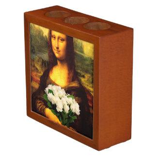 Mona Lisa con el ramo de rosas blancos Organizador De Escritorio