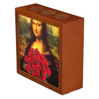 Mona Lisa con el ramo de rosas rojos Portalápices