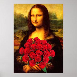 Mona Lisa con el ramo de rosas rojos Póster