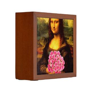 Mona Lisa con el ramo de rosas rosados Portalápices