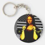 Mona Lisa con KettleBells Llavero Redondo Tipo Pin