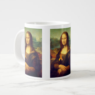 Mona Lisa con la cinta anaranjada Taza Grande