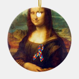 Mona Lisa con la cinta del rompecabezas Adorno Redondo De Cerámica