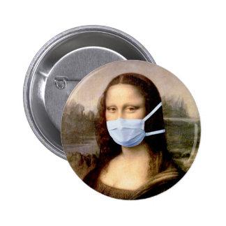 Mona Lisa con la máscara Pin Redondo 5 Cm