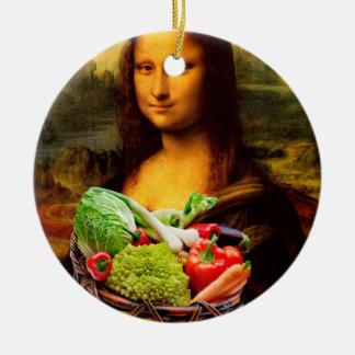 Mona Lisa con las verduras Adorno Redondo De Cerámica