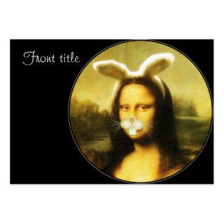 Mona Lisa con los oídos y las barbas del conejito Tarjetas De Visita Grandes