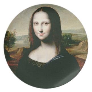 Mona Lisa, copia de la pintura por Leonardo DA Vin Plato De Cena