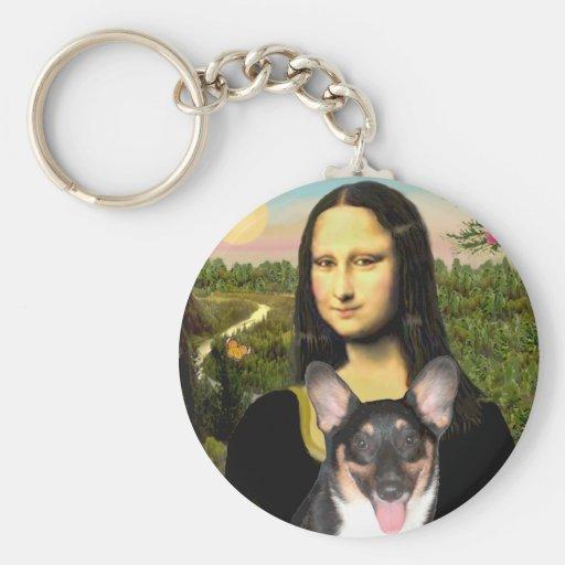 Mona Lisa - Corgi Galés (tri perrito del Pembroke) Llavero Redondo Tipo Pin
