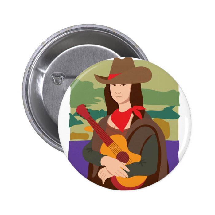 Mona Lisa Cowgirl Pinback Button
