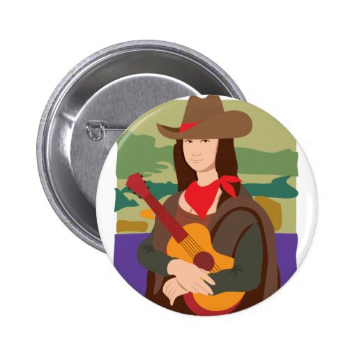 Mona Lisa Cowgirl Pinback Buttons