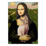 Mona Lisa - Cream Sphynx cat Greeting Card