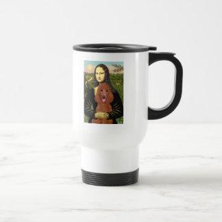 Mona Lisa - Dark Red Standard Poodle #1 15 Oz Stainless Steel Travel Mug
